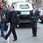 Joseph Gordon-Levitt and Christian Bale on the set of The Dark Knight Rises in New York 97336