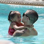 Jennifer Lopez with Casper Smart and her kids in the pool in Miami  124690