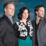 "Director Andrew Stanton, Lynn Collins and Taylor Kitsch attend the ""John Carter"" premiere Moscow, Russia 108139"