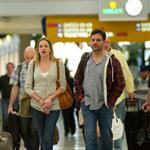 Emily Blunt and John Krasinski at LAX with Jimmy Kimmel and girlfriend  101399