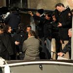 Johnny Depp handcuffed as a hooded Angelina Jolie looks on while shooting The Tourist in Venice  58718