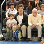 Jon Stewart and son at Knicks game sitting beside Jessica Alba 81057