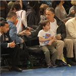 Jon Stewart and son at Knicks game sitting beside Jessica Alba 81060