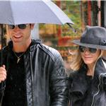 Jennifer Aniston and Justin Theroux take a walk in the rain in the West Village, NYC  94730