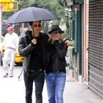 Jennifer Aniston and Justin Theroux take a walk in the rain in the West Village, NYC  94737