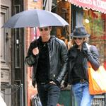 Jennifer Aniston and Justin Theroux take a walk in the rain in the West Village, NYC  94741