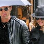 Jennifer Aniston and Justin Theroux take a walk in the rain in the West Village, NYC  94742