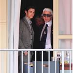 Karl Lagerfeld with his muse Baptiste in Berlin for Elle photo shoot 43504