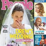 Drew Barrymore in her wedding dress on the cover of People magazine 116904