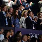 IOC president Jacques Rogge, Prince Harry and Catherine, Duchess of Cambridge look on during the Closing Ceremony on Day 16 of the London 2012 Olympic Games 123165