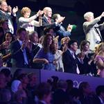 IOC president Jacques Rogge, Prince Harry and Catherine, Duchess of Cambridge look on during the Closing Ceremony on Day 16 of the London 2012 Olympic Games 123167