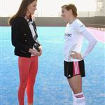 Catherine, Duchess of Cambridge meets with the GB HockeyTeam at the Riverside Arena in the Olympic Park on in London, England 108913
