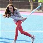 Catherine, Duchess of Cambridge plays hockey with the GB HockeyTeam at the Riverside Arena in the Olympic Park on in London, England 108920