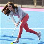 Catherine, Duchess of Cambridge plays hockey with the GB HockeyTeam at the Riverside Arena in the Olympic Park on in London, England 108922