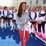 Catherine, Duchess of Cambridge plays hockey with the GB HockeyTeam at the Riverside Arena in the Olympic Park on in London, England 108930