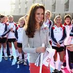 Catherine, Duchess of Cambridge plays hockey with the GB HockeyTeam at the Riverside Arena in the Olympic Park on in London, England 108931