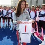 Catherine, Duchess of Cambridge plays hockey with the GB HockeyTeam at the Riverside Arena in the Olympic Park on in London, England 108932