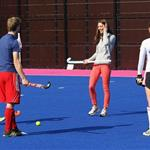 Catherine, Duchess of Cambridge plays hockey with the GB HockeyTeam at the Riverside Arena in the Olympic Park on in London, England 108934