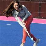 Catherine, Duchess of Cambridge plays hockey with the GB HockeyTeam at the Riverside Arena in the Olympic Park on in London, England 108936