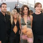 Carson Daly, Tara Reid, Katie Holmes, and Chris Klein at the MTV Movie Awards 2000 119714