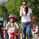 Katie Holmes teaches Suri to ride her bike in New York City 123790