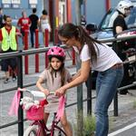 Katie Holmes teaches Suri to ride her bike in New York City 123795