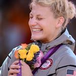 United States' gold medalist Kayla Harrison reacts on the podium of the women's -78kg judo contest of the London 2012 Olympic Games 122352