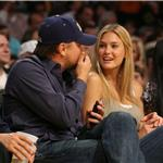 Leonardo DiCaprio and Bar Rafaeli at a Lakers game in April 60842