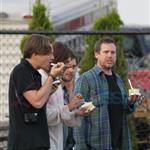 Leonardo DiCaprio in Vancouver with Lukas Haas and Tobey Maguire 67736
