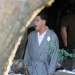 Leonardo DiCaprio in pyjamas shooting J Edgar Hoover 78729