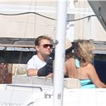 Leonardo DiCaprio on a boat on the Sydney Harbour with Tobey Maguire and family 94717