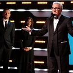 Leonardo DiCaprio at the 2012 Critics' Choice Awards with Martin Scorsese and Olivia Harrison 102677