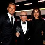 Leonardo DiCaprio at the 2012 Critics' Choice Awards with Martin Scorsese and Olivia Harrison 102681
