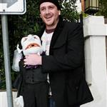 Jason Segal with Dracula puppet after Lindsay Lohan sleepover 51753