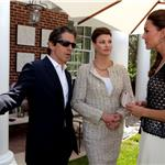 Peter Morton and Linda Evangelista speak with Catherine, Duchess of Cambridge during a reception to mark the launch of Tusk's US Patron Circle 91142
