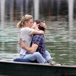 Drew Barrymore and Justin Long kissing on a boat shooting scene for Going the Distance 44242