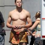 Kellan Lutz in loin cloth costume for Immortals in Montreal June 2010 63378