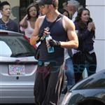 Kellan Lutz and Elizabeth Reaser after the gym 44355