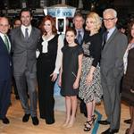 Jon Hamm, Christina Hendricks, Kiernan Shipka, January Jones and John Slattery pose after ringing the opening bell at the New York Stock Exchange  109630