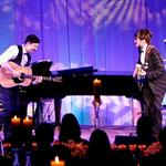 Marcus Mumford and Mumford & Sons perform during a state dinner, hosted by U.S. President Barack Obama for British Prime Minister David Cameron, at the South Lawn of the White House 108984