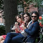 Keira Knightley, Hailee Steinfeld and Mark Ruffalo on the set of their new movie Can A Song Save Your Life?  in New York City 121220