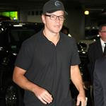 Matt Damon arrives in Boston with his family  123683
