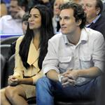 Matthew McConaughey with Camila Alves at basketball game in New Orleans 75177