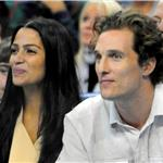 Matthew McConaughey with Camila Alves at basketball game in New Orleans 75178