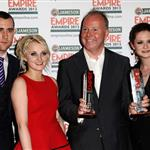 Matthew Lewis, Evanna Lynch, director David Yates and Bonnie Wright with the Best Film award for Harry Potter And The Deatlhly Hallows: Part 2 during the 2012 Jameson Empire Awards 109683