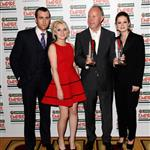 Matthew Lewis, Evanna Lynch, director David Yates and Bonnie Wright with the Best Film award for Harry Potter And The Deatlhly Hallows: Part 2 during the 2012 Jameson Empire Awards 109684