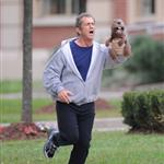 Mel Gibson holds a beaver puppet while shooting The Beaver in NY 47815