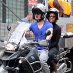 Michael Fassbender rides his motorcycle with Nicole Beharie in London 124448