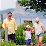 Michelle Williams and Matilda Ledger take in the sites of New York harbor with Jason Segel in New York City 120555