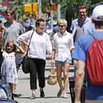 Michelle Williams and Jason Segel go for a walk in New York with Matilda and the nanny 118525